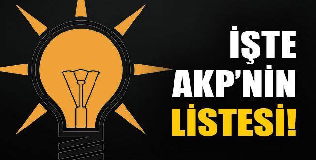 AKP'NİN ADAY LİSTESİ YAYINLANDI