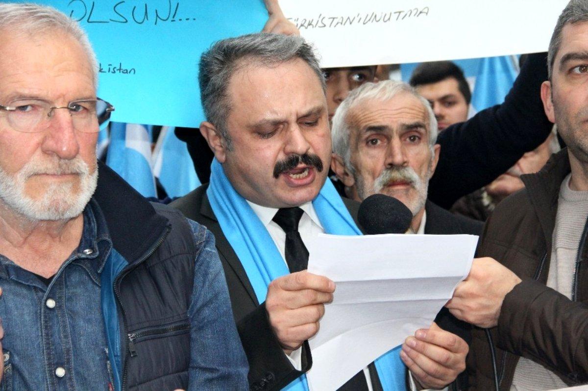 Samsun da STK lardan Çin e Doğu Türkistan tepkisi